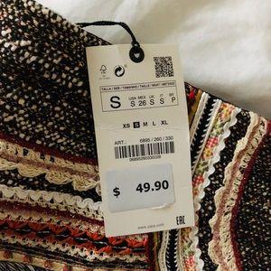 Zara Skirts - Zara tweed striped crotchet miniskirt- small NWT
